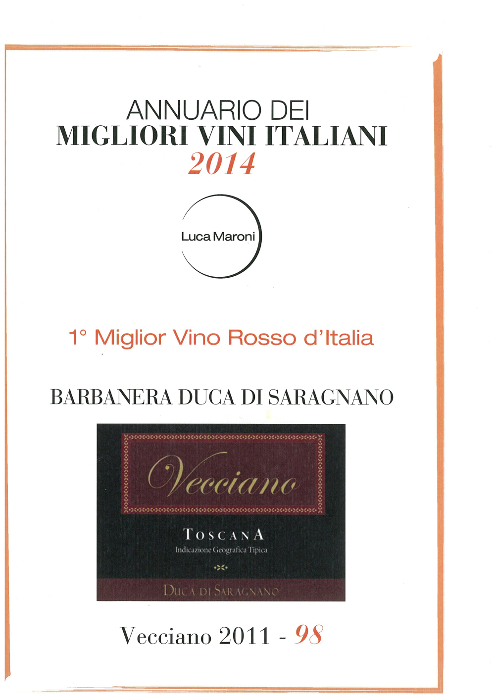 Miglior Vino Rosso d'Italia 2014
